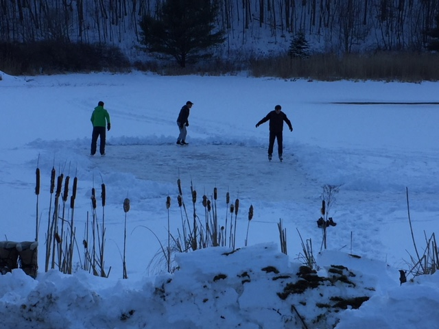 Some of the participants chilling out on the ice of Easton's pond.