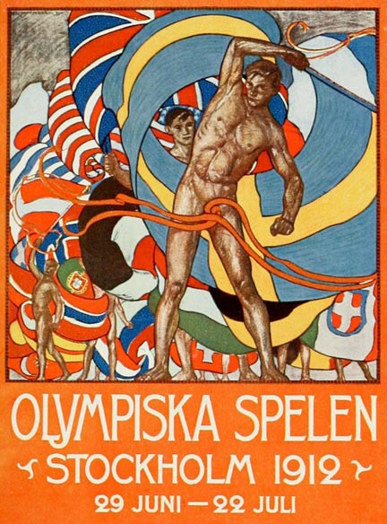 Fast forward to the early 20th century - When the Olympic Games were revived there was no thought of actually competing naked, but this didn't stop the artists who created stunning posters of nude athletes. These artists also should be numbered among our pioneers.