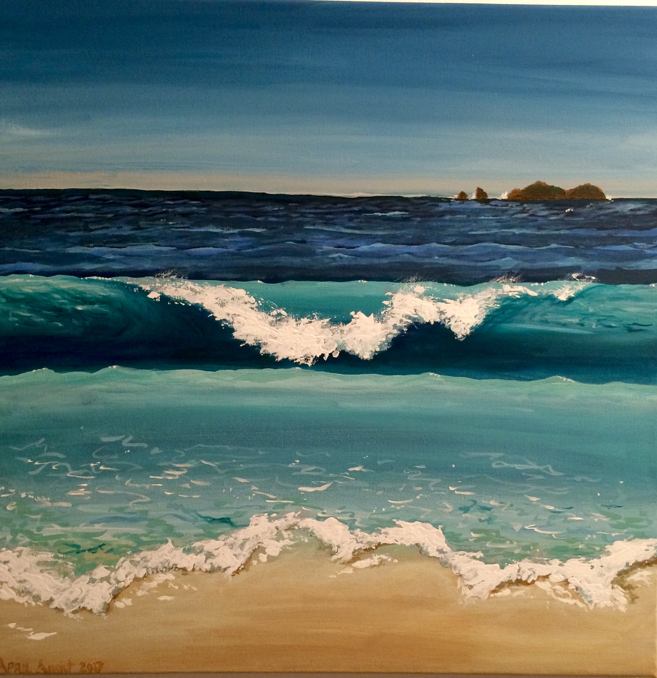 "@april_in_costa_rica:    ""  Today's painting: my favorite beach Manuel Antonio. I'm pretty pleased with this one. I've never painted the ocean before."""