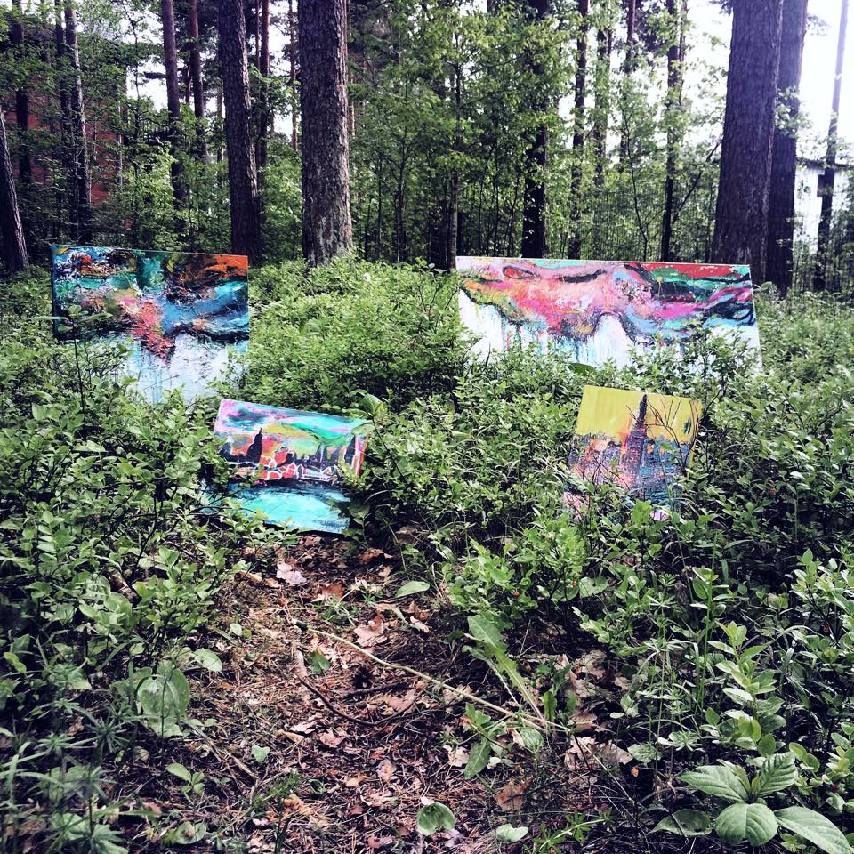 Art in forest - My little secret is nature - Nature is good for us. The sacredness and peace it holds. Its clearing my head and establishing sense of meaning - when i visit the land where my roots are from i always have bit of time in nature.  After that it is so easy to paint new and fresh again.