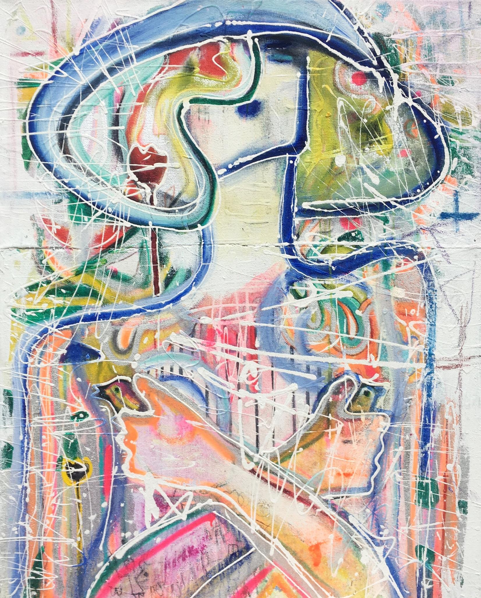 """Mõõdutunde kadumine/ Disappearance of Female Modesty. 2017 - """"Olles feministlikult meelestatud suurlinna naine, ajendas mind selle maali maalimiseks post-feminism ja inimlike väärtuste esile kerkimine. Mida tunneks viimane naine maakeral…? Maal väljendab inimtuuma uuringuid, absurdsusest väljapääsu otsinguid. Naine on justkui ämblikuvõrgus, hoiab peos kahte lindu, sest loodus oleks nagu viimane asi, mida usaldada, kuid seegi on kadumas. Peas olev daamilik kübar sümboliseerib igatsust selle järele, et olla nõrk ja haavatav ilma, et keegi näeks selles head võimalust sinu ära kasutamiseks.""""/""""As I am a feminist big city woman, the inspiration for this painting came from post-feminism and the appearance of human values. What would the last woman on Earth feel…? The painting expresses the studies of the human core and the search for an escape from absurdity. The woman seems to be in a spider web, holding two birds in the palm of her hand as if nature is the last thing that can be trusted but it is disappearing like everything else. The feminine hat on her head symbolises the yearning to be weak and vulnerable without anyone seeing it as an opportunity to take advantage of you."""""""