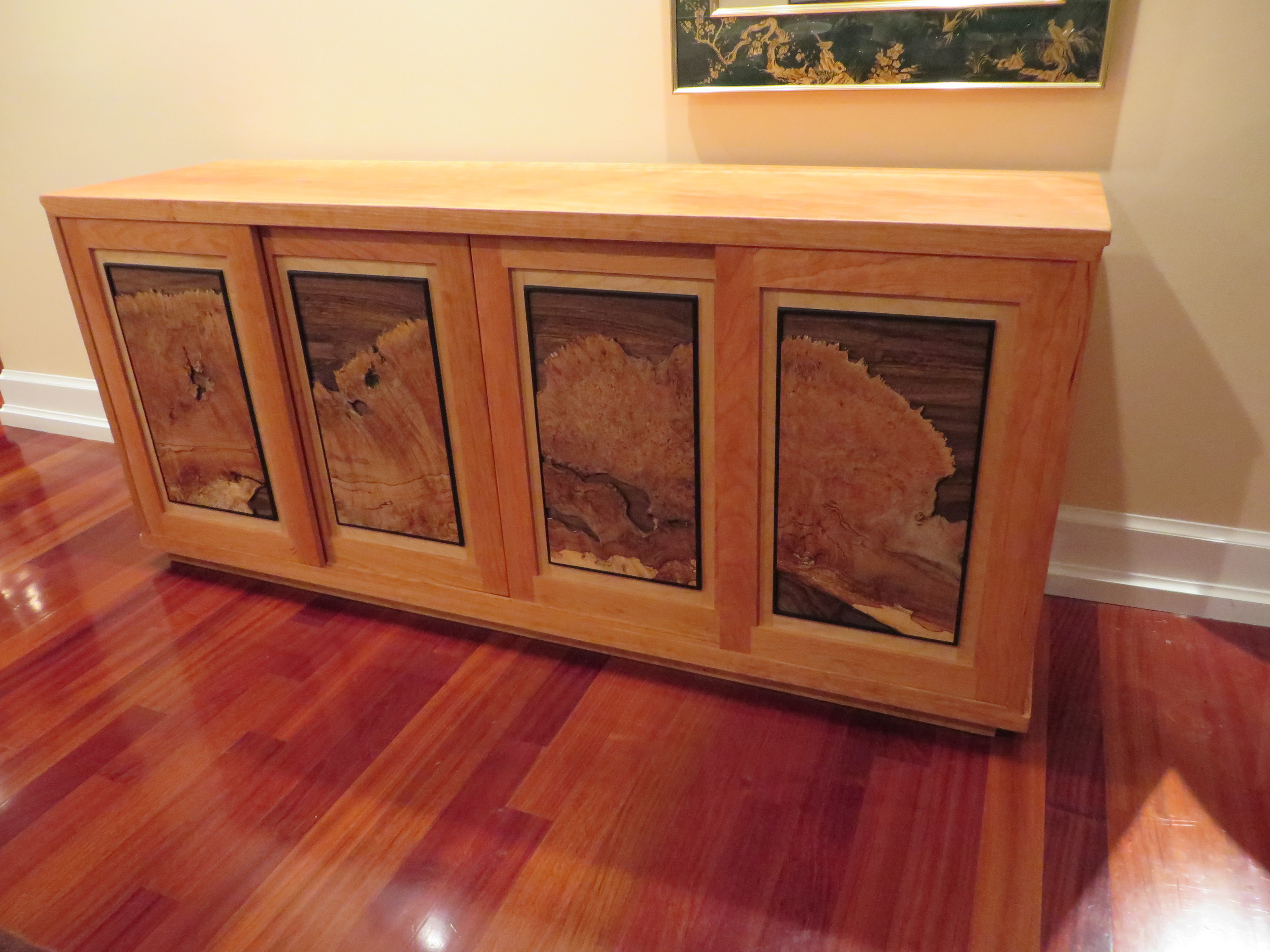 Live Edge Burl Cabinet. Cherry, Maple burl and other woods. 72""