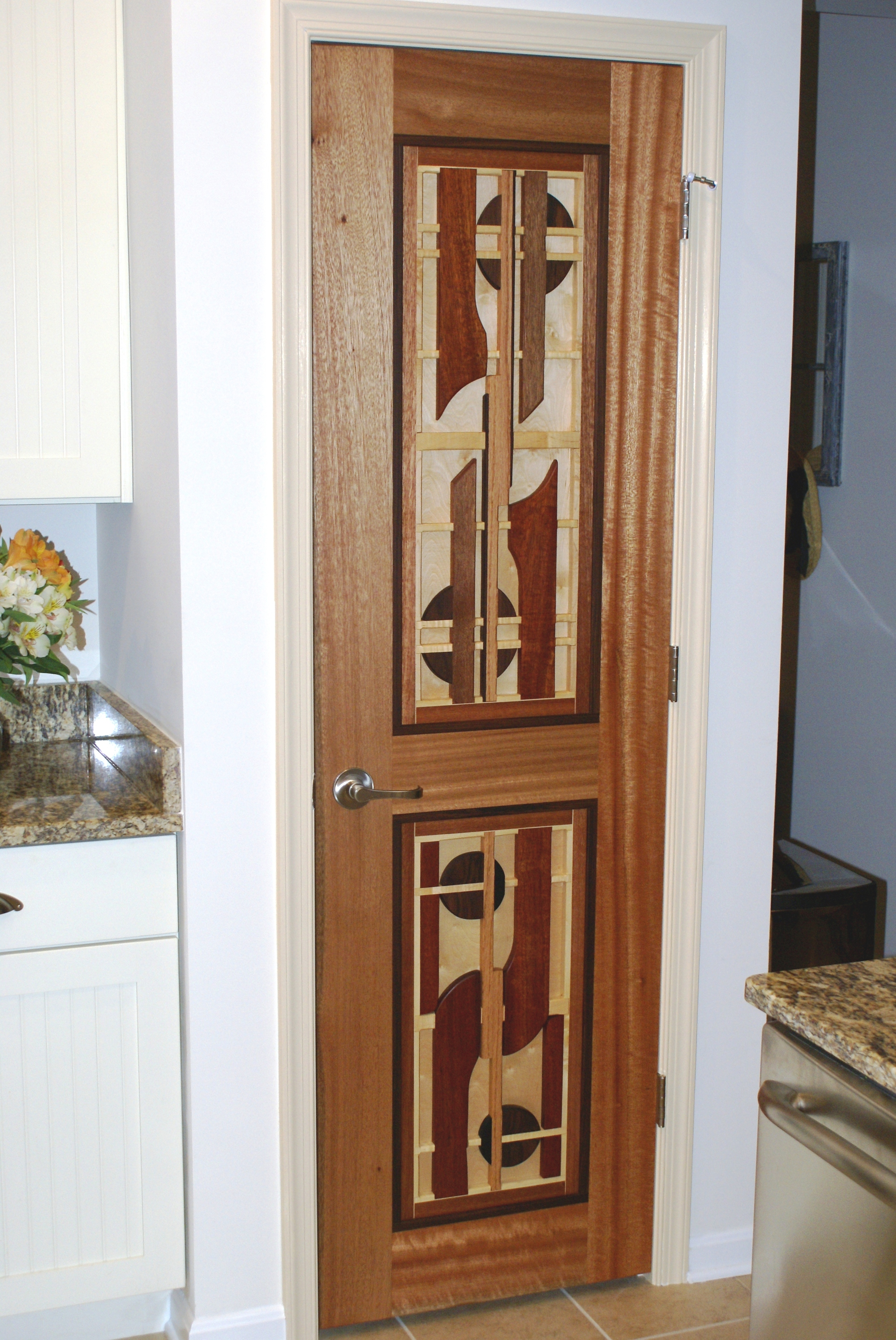 Mahogany Pantry Door (Sparrow Design) with Maple Backing