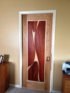 Master Bathroom Door (Natural Curves) with Maple Backing