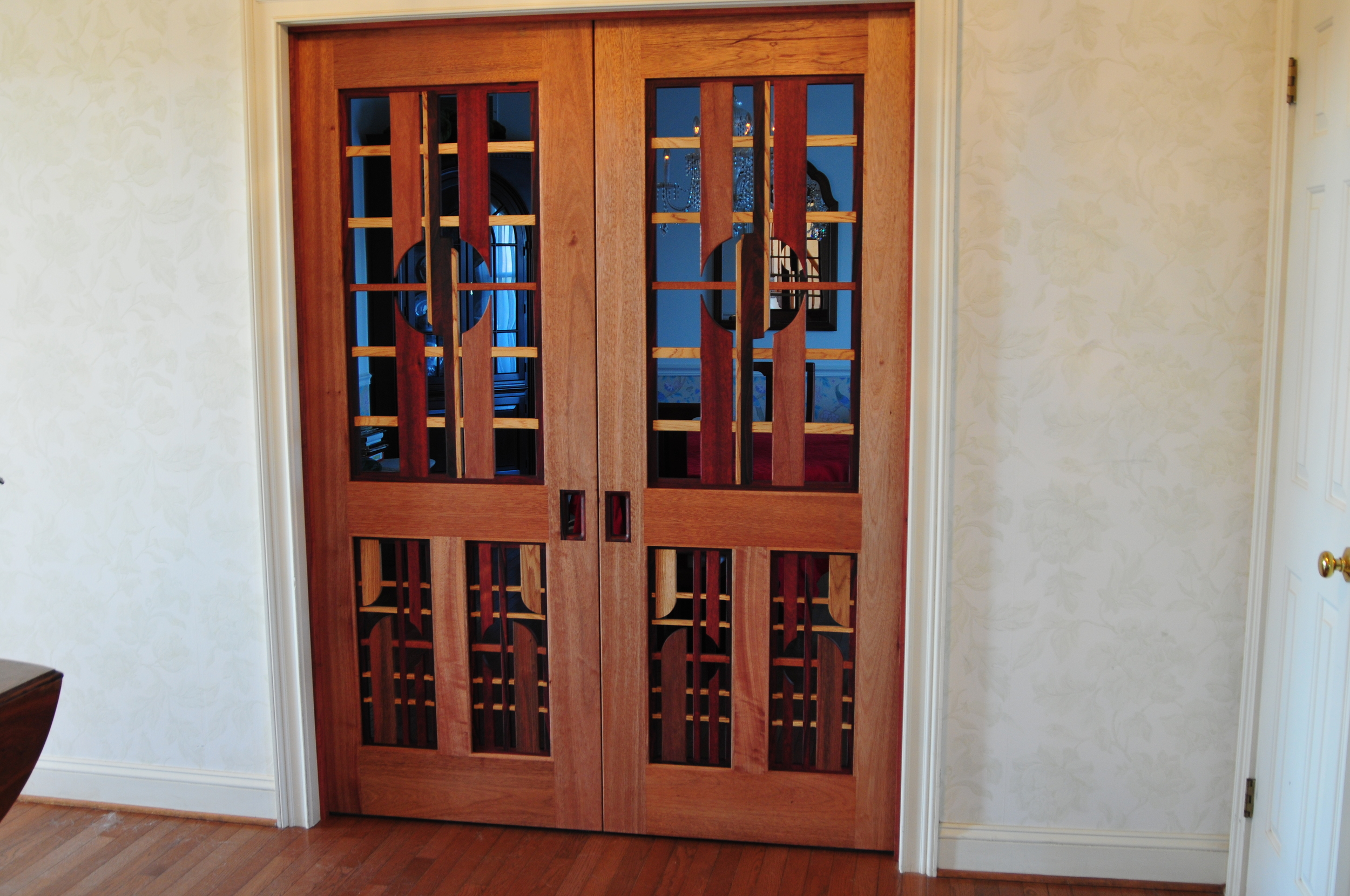 Mahogany Double Doors (see through design)
