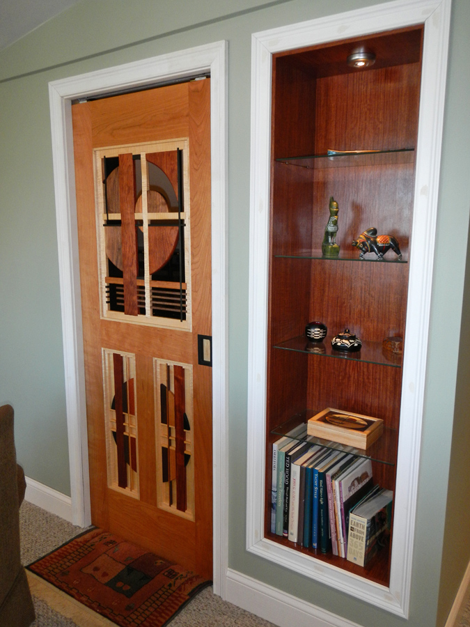 Cherry Pocket Door with Asymetrical Design