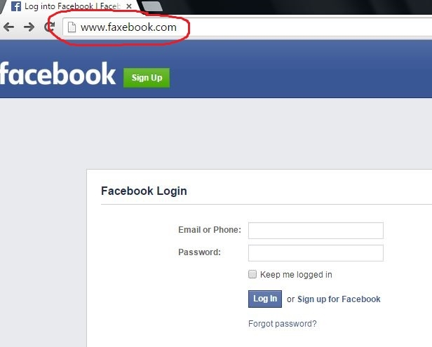 Example of a fake Facebook page, designed to steal Facebook credentials.
