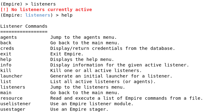Setting up listeners in Empire