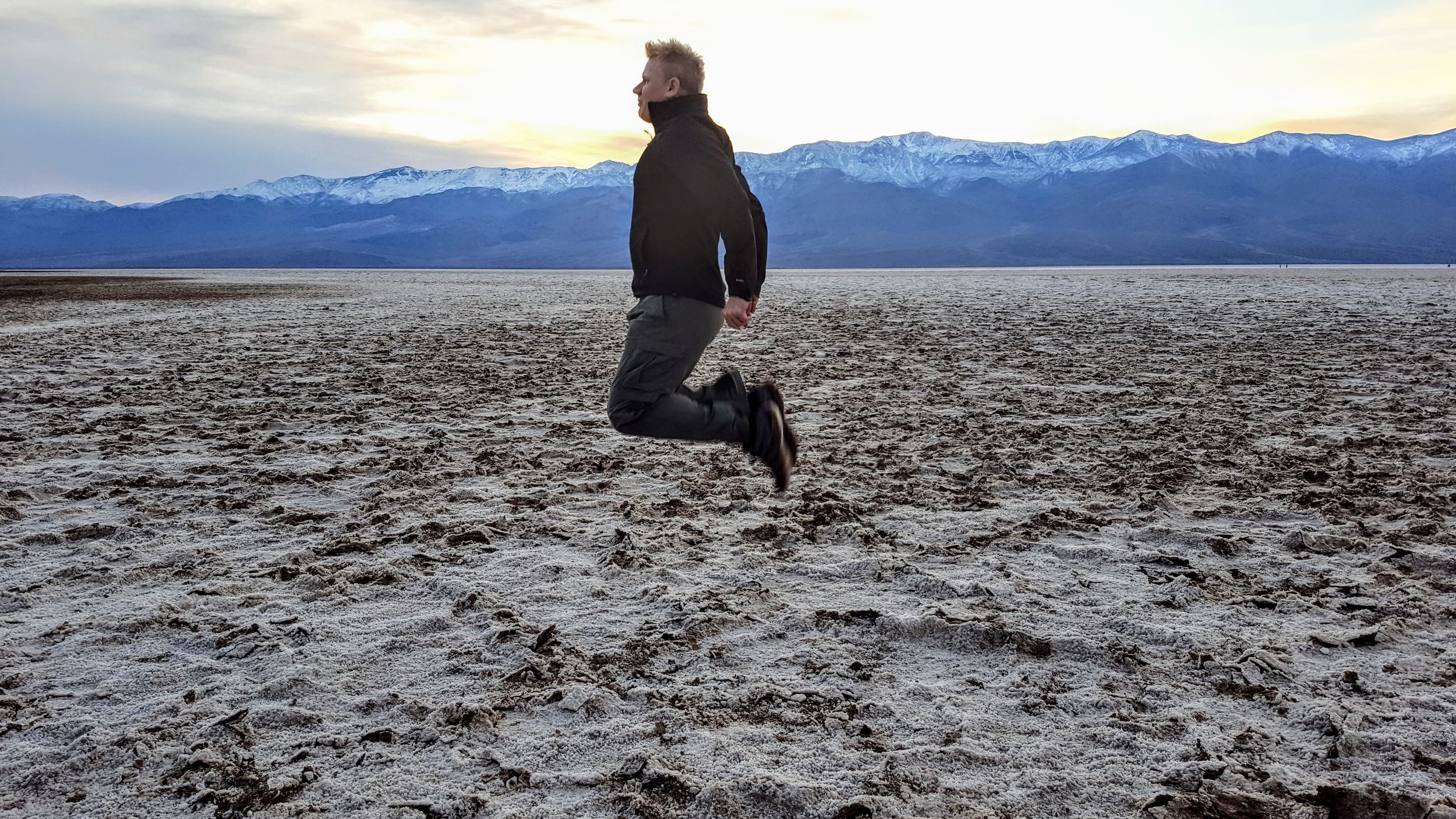 Christian getting some air at Badwater, the lowest point in the USA