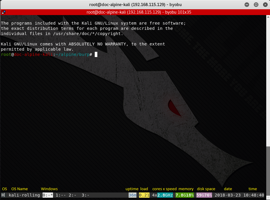 """byobu running in a terminal with four """"terminals"""" (0-3)."""