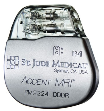 Abbott / St Jude Medical's Accent MRI pacemaker. Recalled due to cybersecurity vulnerabilities. Photograph: Abbott / St Jude Medical