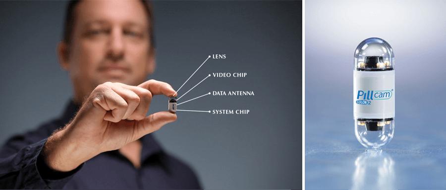Ingestible sensor - camera.  Image source: https://www.marsdd.com/news-and-insights/ingestibles-smart-pills-revolutionize-healthcare/