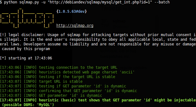 sqlmap - SQL injection tool