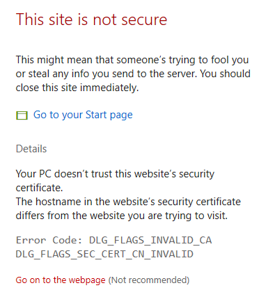 Certificate Warning, Select Go on to the webpage