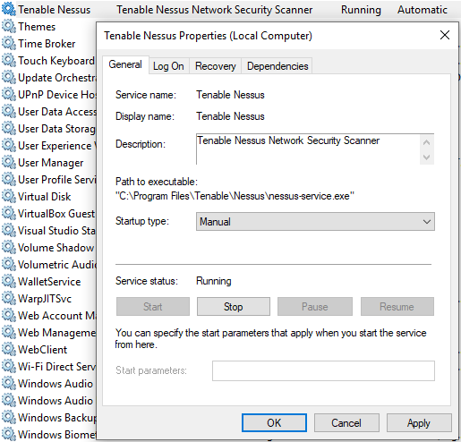 Configuring Nessus to manual start using Windows Services