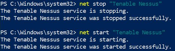 Net Start/Stop of Nessus