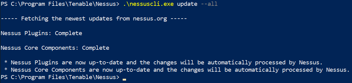 Nessus Update from command line
