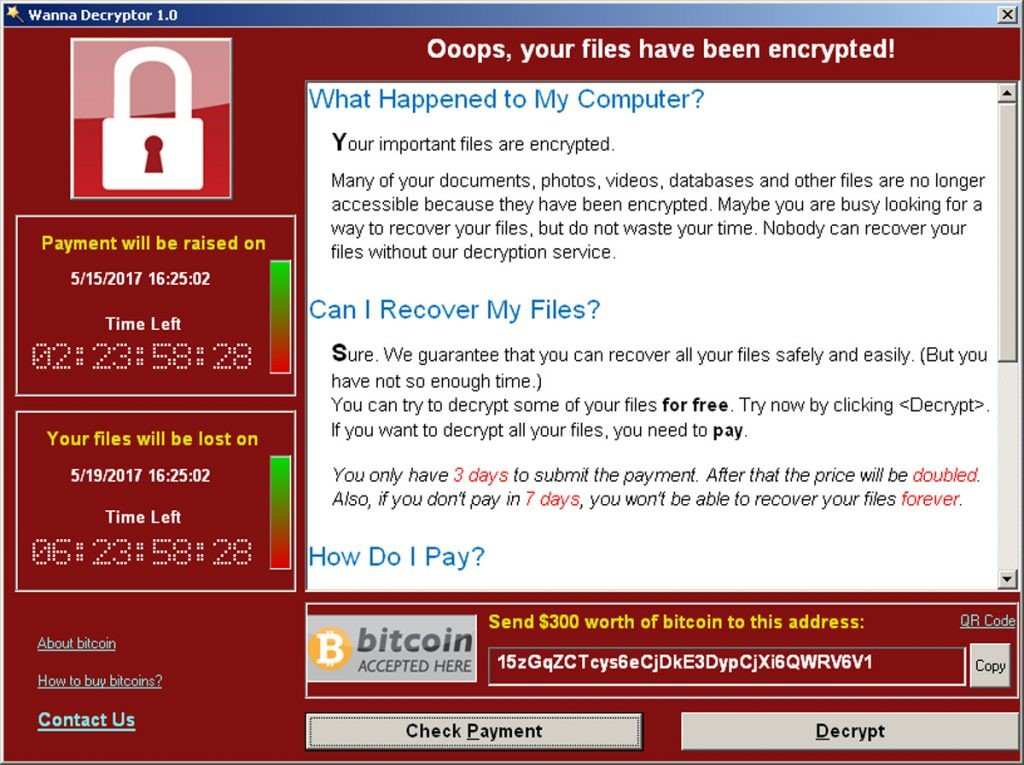 Ransomware sample display screen
