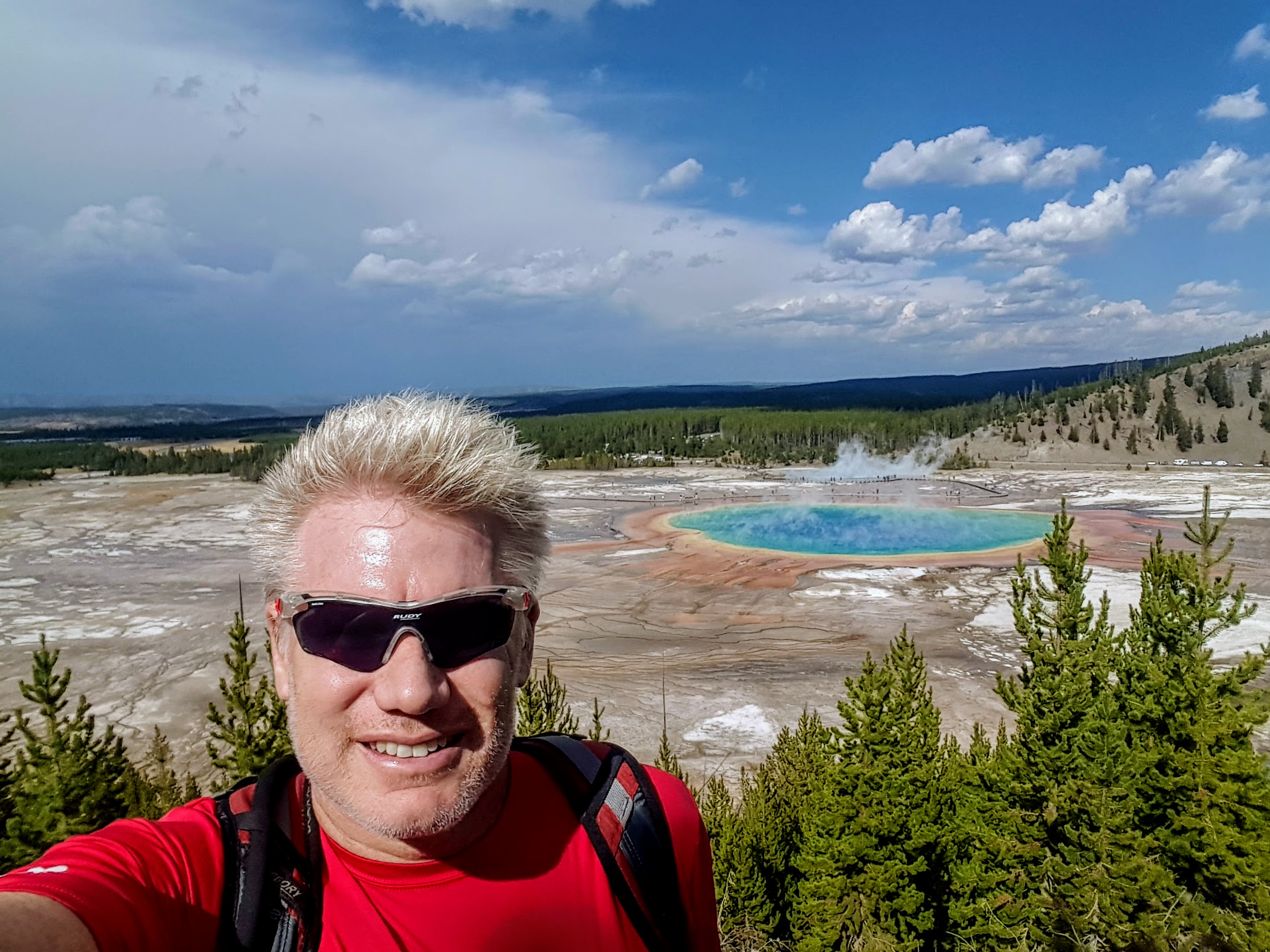 Christian at the Grand Prismatic Spring in Yellowstone National Park