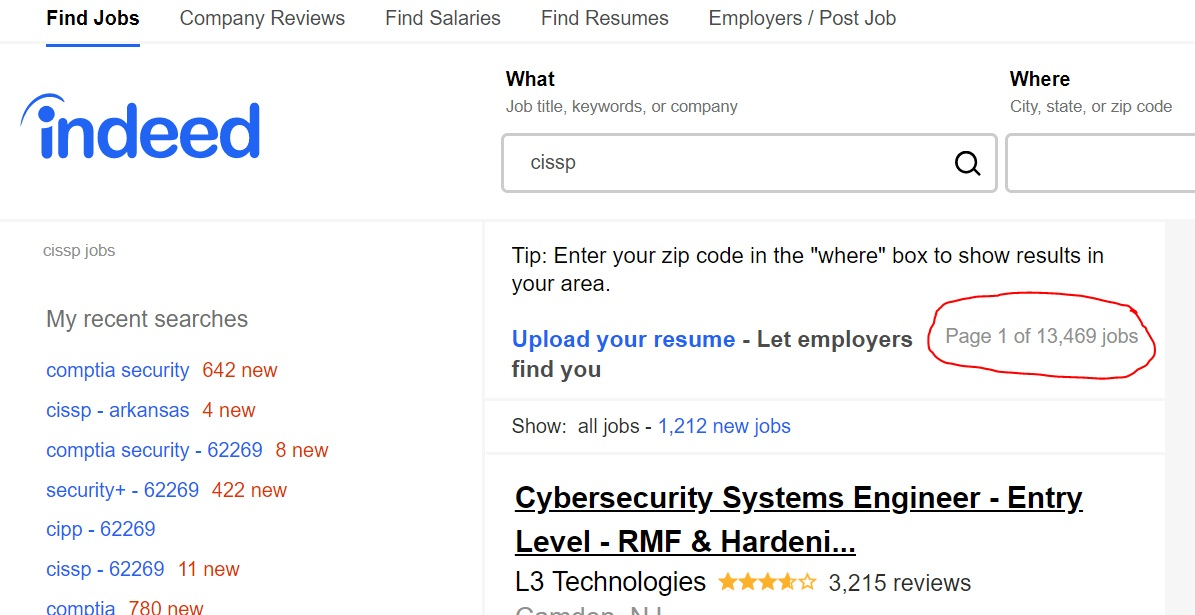 Jobs (13,469) on indeed.com that require the CISSP Certification.