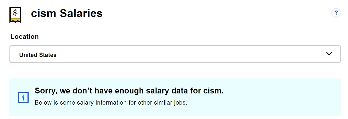 Indeed's CISM salary results. (Click to Enlarge)