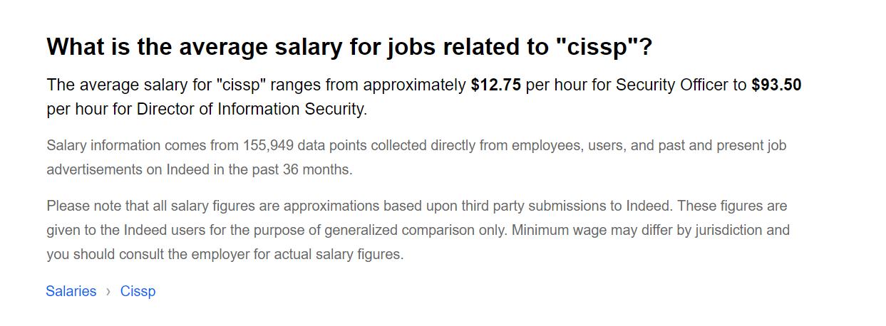 Indeed's CISSP salary range. (Click to Enlarge)