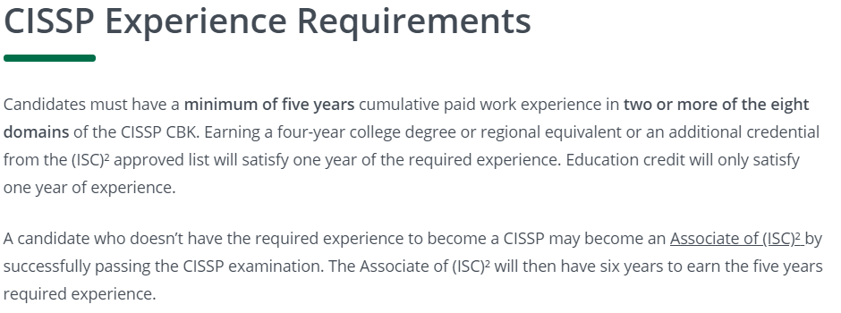 CISSP work experience requirements. (Click to Enlarge)