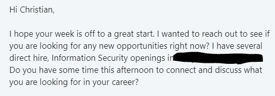 Sample headhunter LinkedIn message.