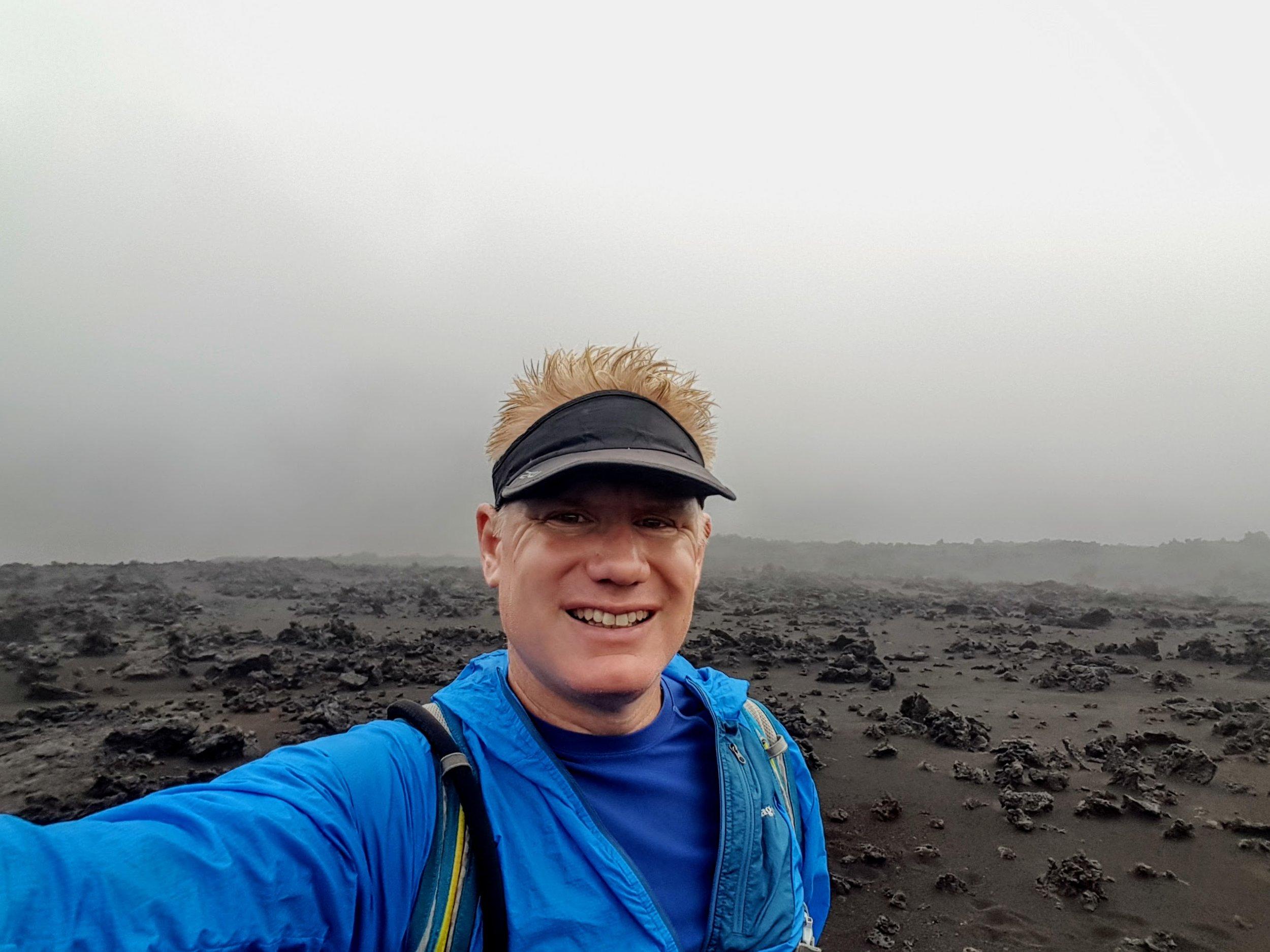 Christian hiking in Haleakala National Park in Maui.