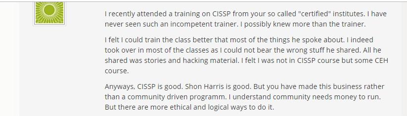 Comment of the ISC2 Blog.  Source:    https://blog.isc2.org/isc2_blog/2017/01/cissp-training-myths-busted.html     (Click to Enlarge)