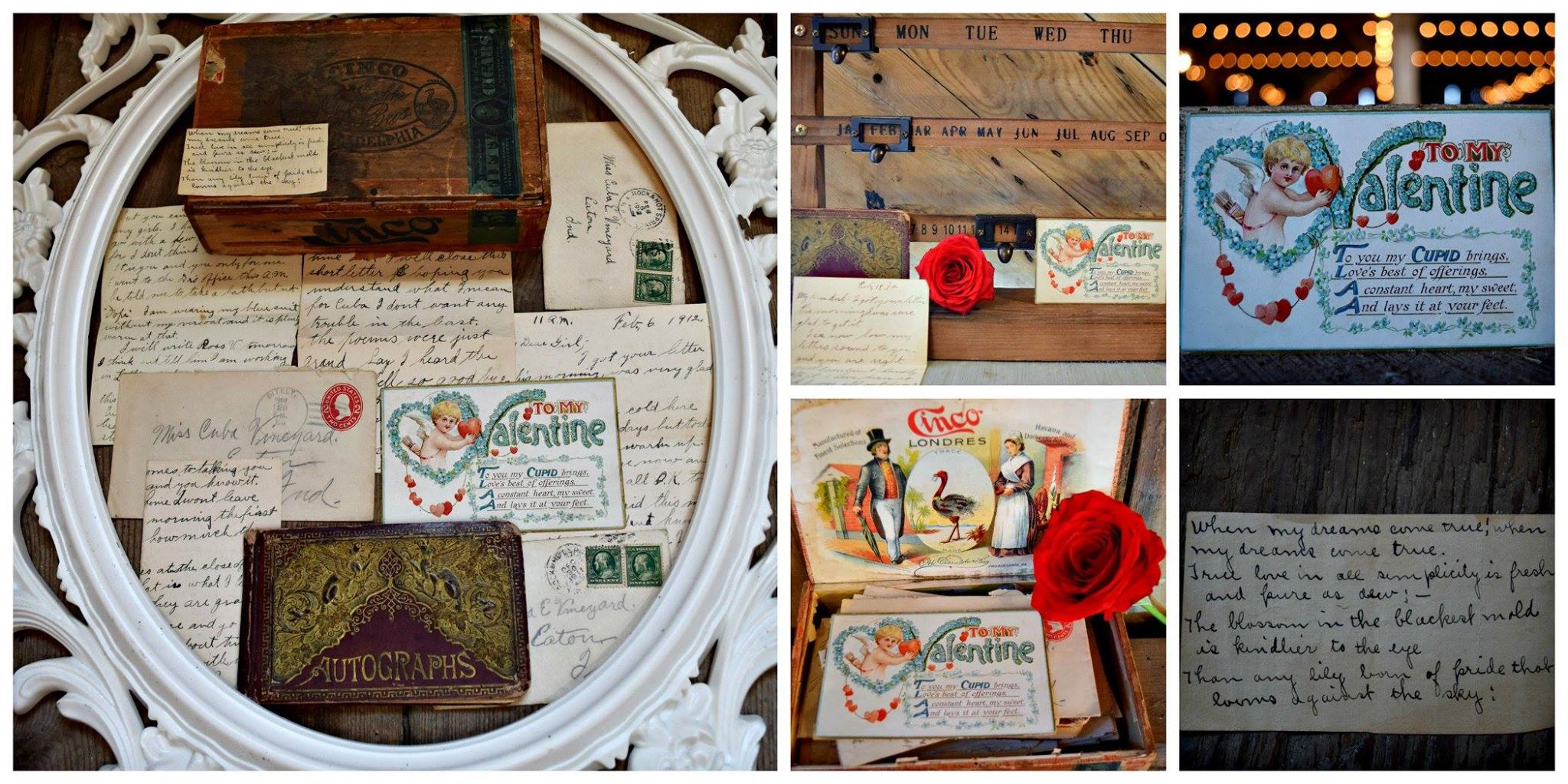 Love letters from 1912 are displayed at Barn on Boundary to read and enjoy on your special day.