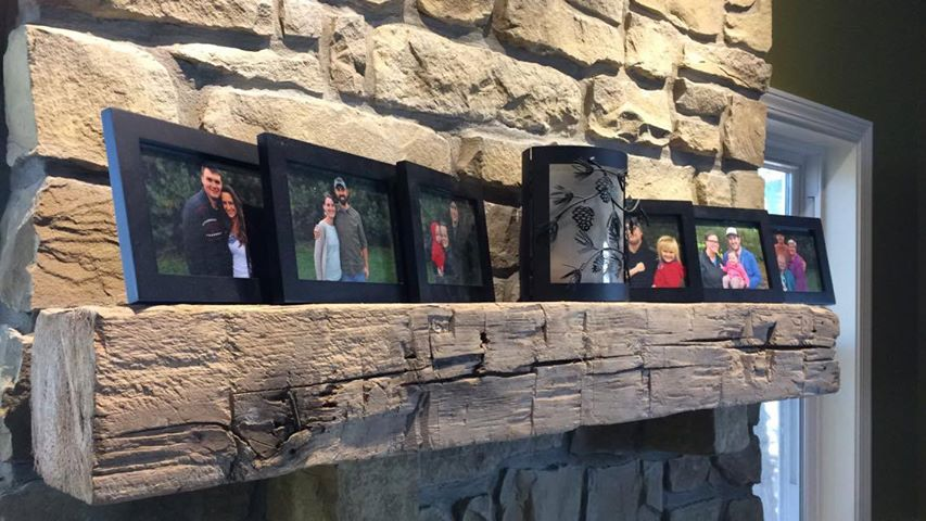 """"""" Here is the sweet barn beam we bought for our renovated family room. Fits in beautifully with our Brown County stone wall, hearth and wood pellet stove. Thanks!"""""""