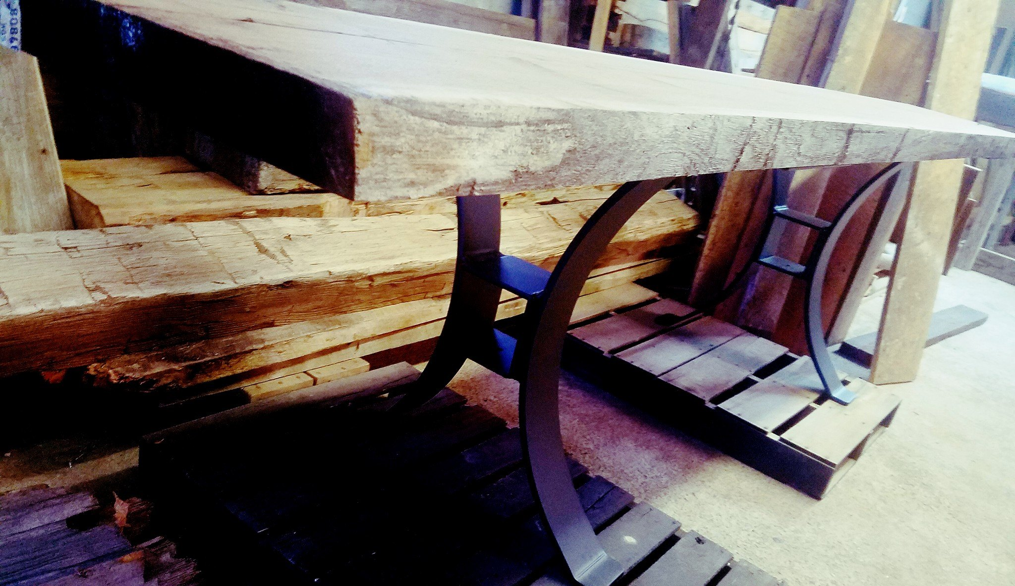Order the live edge lumber and the steel base 317-617-2773