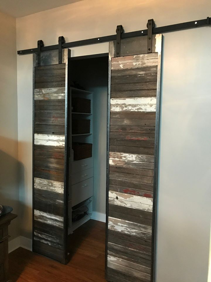 Steel Framed Sliding Barn Doors with a Rustic Tracking System