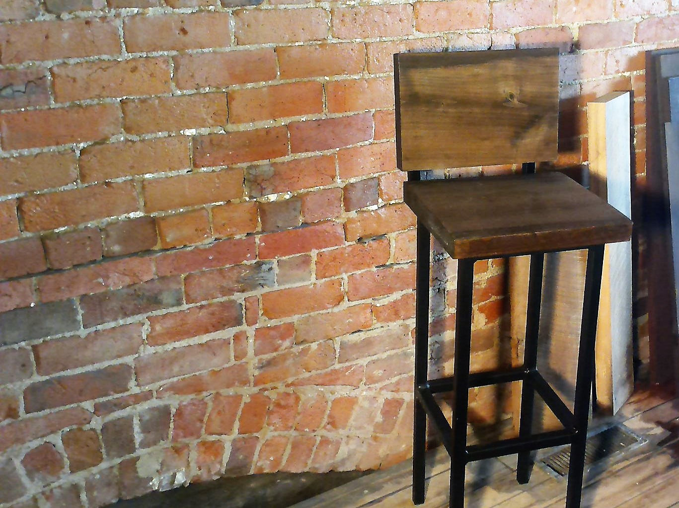Design your steel/wood stools.  http://www.reclaimedbarnsandbeams.com/inventory/industrial-stool