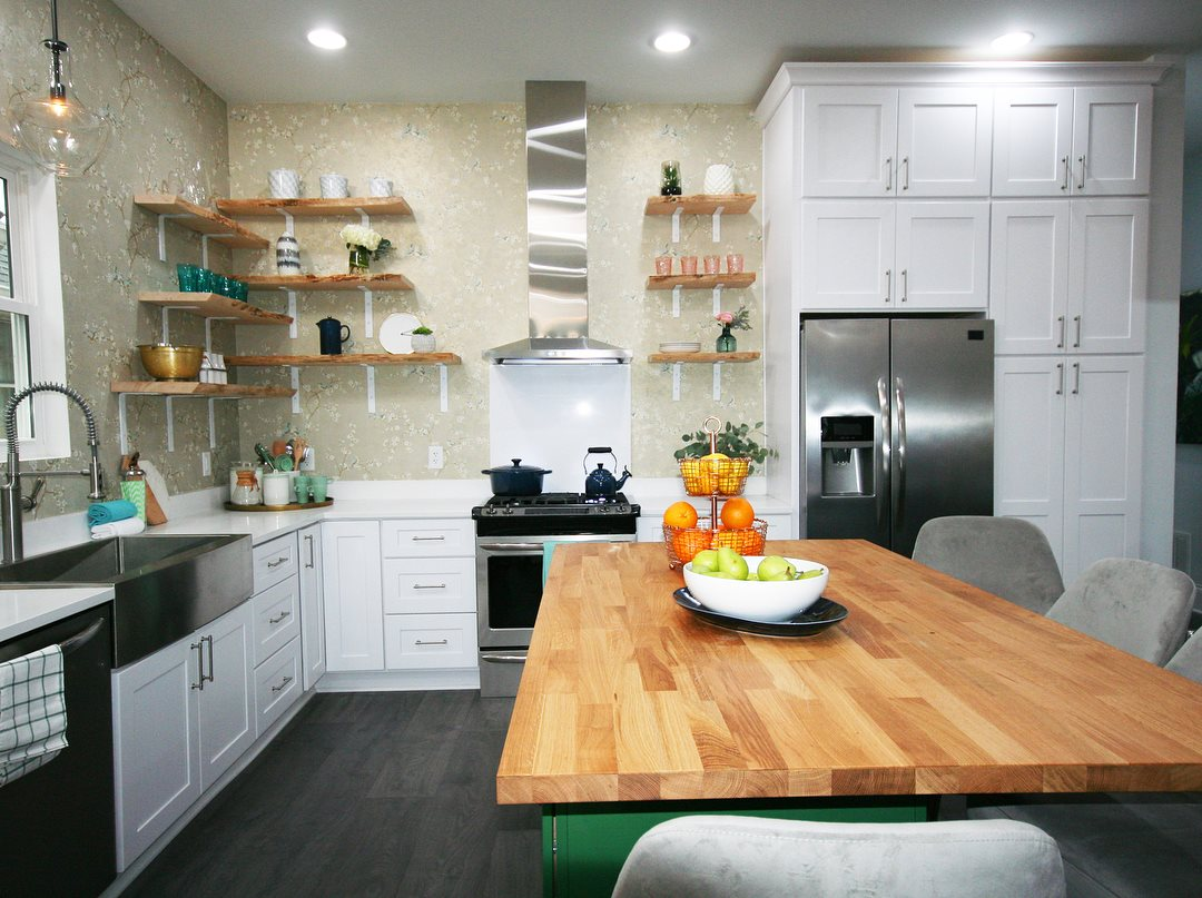 Live Edge Maple Shelving with steel brackets painted white from Sanders St Kitchen- HGTV- Good Bones/2 Chicks and a Hammer