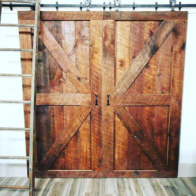 Two British Brace Sliding Barn Doors. Created with poplar circle milled lumber.