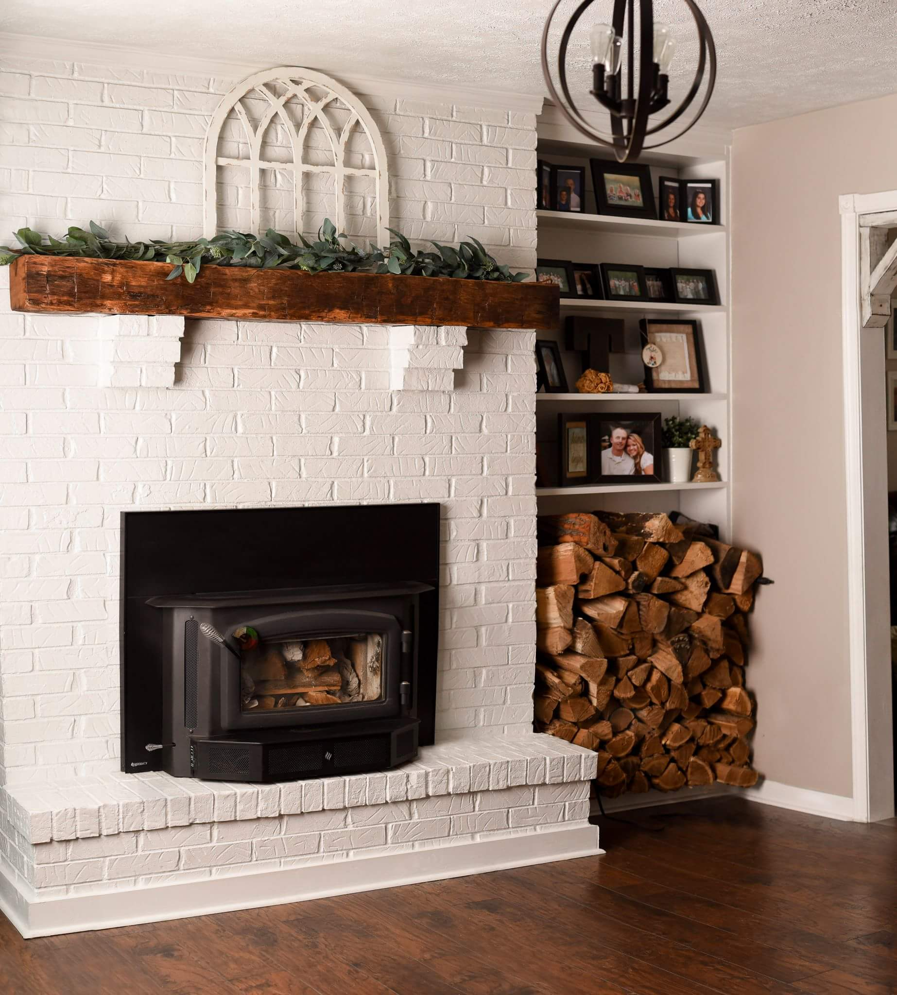 Natural color pops out of this hand hewn 6 x 6 mantle.  Click on photo to learn how to order