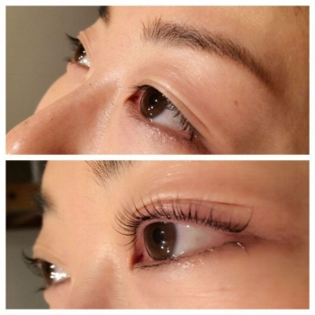 Sample of eyelash lifting and tinting