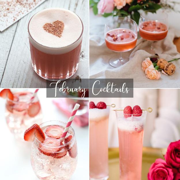 1. Valentine's Day Cocktail via  Honestly Yum   2. The French Kiss via  The Glitter Guide   3. Strawberry Chantilly Cocktail via  Katrina's Kitchen   4. Raspberry Rose Cocktail via  Camille Styles