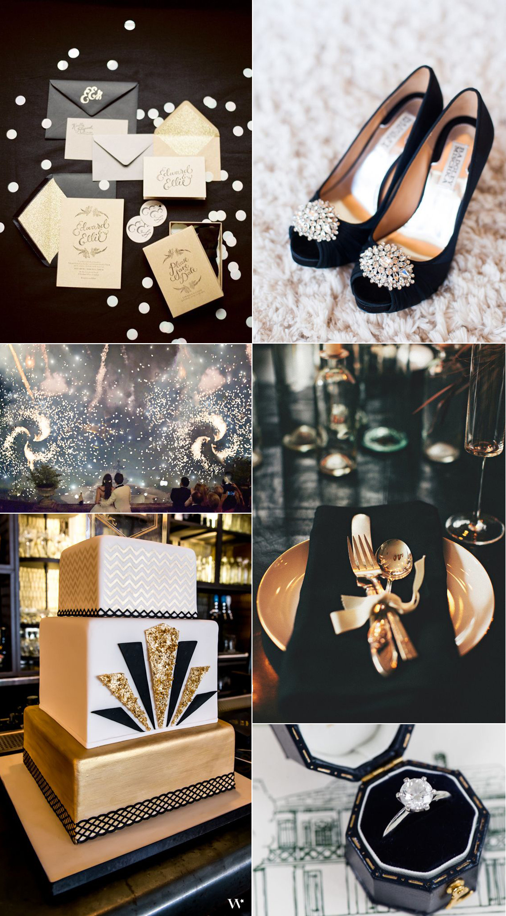 {Image Sources: Invites featured on  Style Me Pretty ; black heels featured on  Style Me Pretty  - photo by  Candice Benjamin ; fireworks featured on  Style Me Pretty  - photo by  Emma & Clau ; gold table setting featured on  Style Me Pretty  - photo by  Rebecca Hansen ; black and gold cake featured on  Wedding Star ; ring featured on  Style Me Pretty  - photo by  Lance Nicoll }