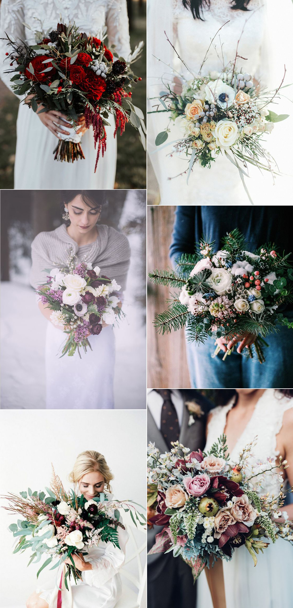 {Image Sources: Red and green bouquet featured on Green Wedding Shoes - photo by Susan Alyse Photography ; white bouquet featured on Whimsical Wonderland Weddings - photo by Jess Petrie ; Purple, green and white bouquet featured on Wedding Chicks ; Pine tree bouquet featured on I Take You - photo by Flower Power ; Burgundy and green bouquet featured on Aisle Society - photo by Sheri McMahon Photography ; pink and burgundy bouquet featured on Weddings Online }