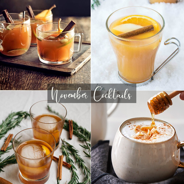 1. Mulled Pear & Ginger via   Jamie Oliver    2. Pimms Winter Cup via   Culinary Ginger    3. Cinnamon Rosemary Old Fashion via   Salted Plains    4. Honey Coconut Latte via   Russell Hobbs