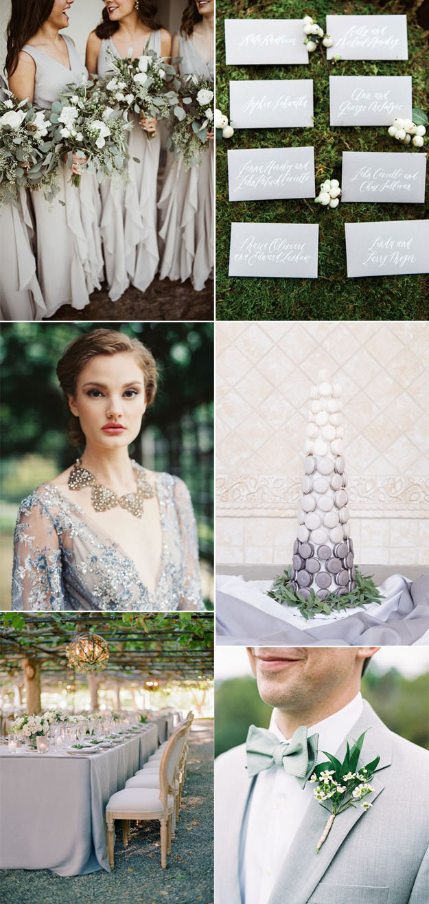 {Image sources: gray bridesmaids featured on  Grey Likes Weddings  - photo by  Wild Cotton Photography ; Grey invites featured on  Style Me Pretty  - photo by  Judy Pak ; Bride featured on  Style Me Pretty  - photo by Laura Gordon Photography; Grey Macaron cake featured on  Style Me Pretty  - photo by  Roots of Life Photography ; Grey table setting featured on  Style Me Pretty  - photo by  Jose Villa Photography ; Groom featured on  Style Me Pretty  - photo by Natalie Watson}