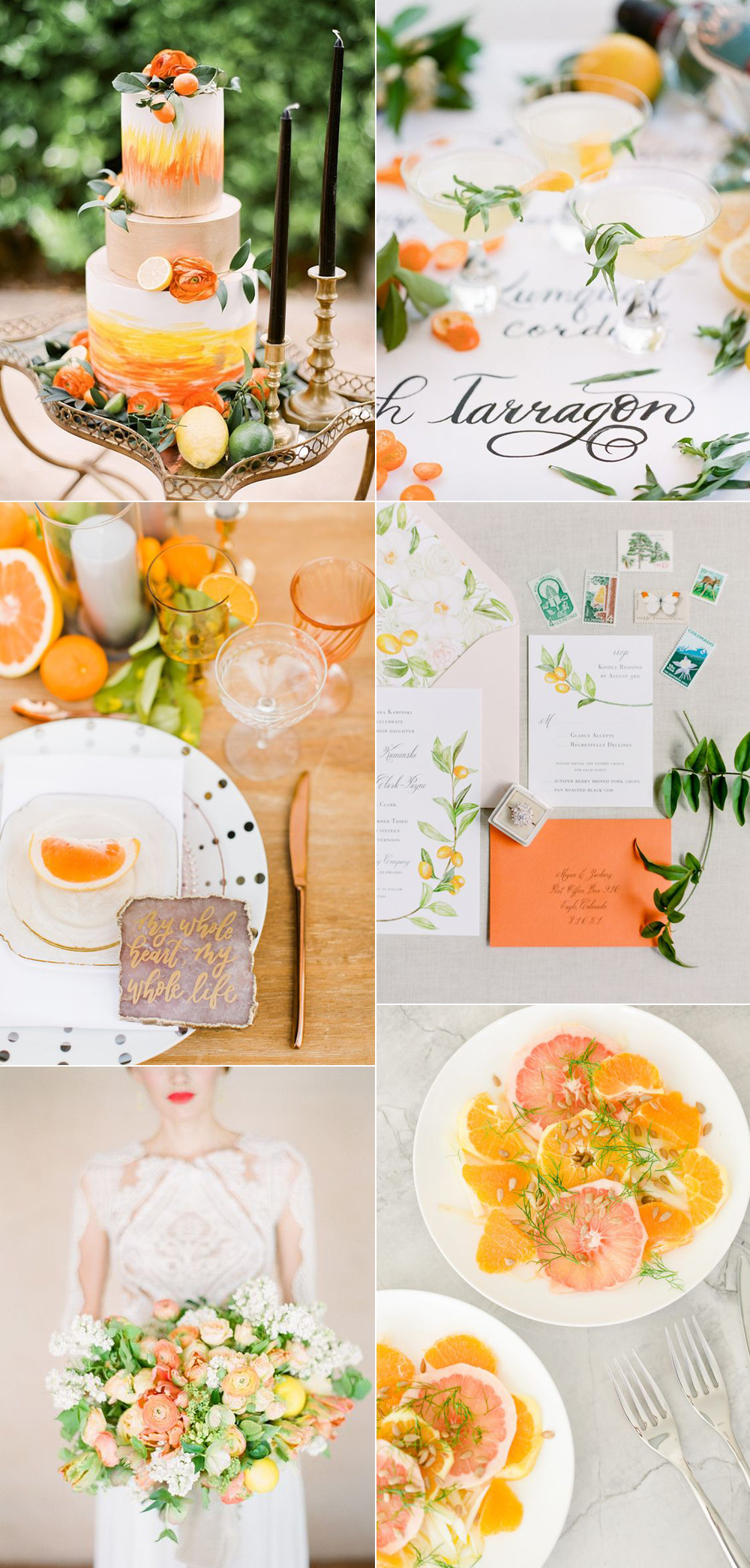 {Image Sources: Orange wedding cake featured on  Aisle Society  - photo by  Gabe + Brit Photography ; Orange cocktails featured on  Style Me Pretty  - photo by  Koman Photography ; Orange table setting featured on  100 Layer Cake  - photo by  Brett Hickman Photography ; Orange invitations featured on  Style Me Pretty  - photo by  Connie Whitlock ; Orange bouquet photo by  Koman Photography ; Citrus salad featured on  Style Me Pretty  - photo by  Lisa Renault Photography }
