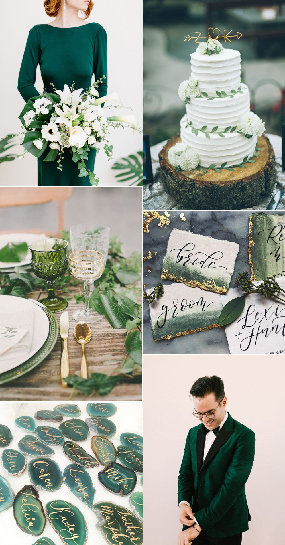 {Image Sources: Bride with green dress and bouquet featured on  Green Wedding Shoes  - photo by  Mike Cassimatis ; Wedding cake with greenery featured on  Junebug Weddings  - photo by  From The Daisies ; Green table top setting featured on  Casa and Fest a; Green and Gold wedding signs featured on  Instagram ; Geode seating chart featured on  Brit + Co ; Green tux featured on  Kancyl }
