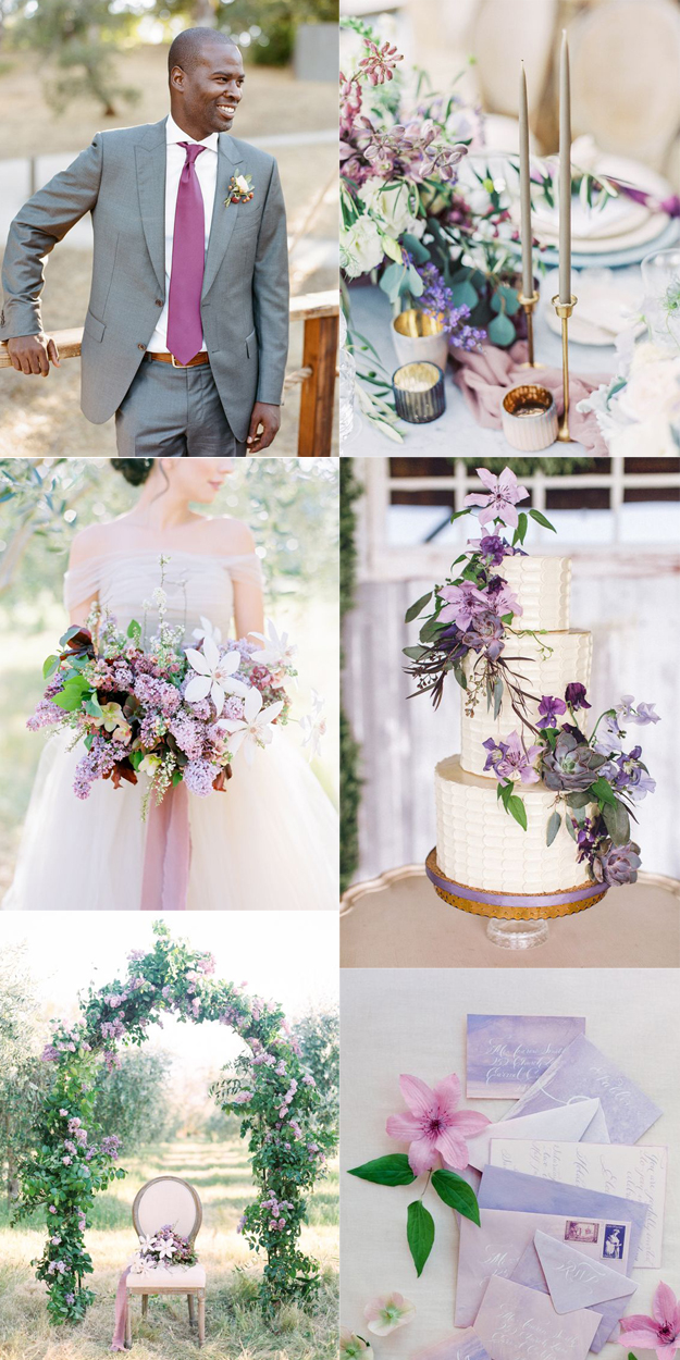 {Image Sources: Groom with purple tie via  Style Me Pretty  - photo by  Josh Gruetzmacher ; Table setting via  Style Me Pretty  - photo by  Sally Pinera ; Lilac bouquet via  Style Me Pretty  - photo by  Esmerelda Franco ; Purple wedding cake via  Style Me Pretty ; Lilac arch via  Style Me Pretty  - photo by  Esmerelda Franco ; Purple watercolor wedding invites via  Style Me Pretty  - photo by  Jose Villa Photography }