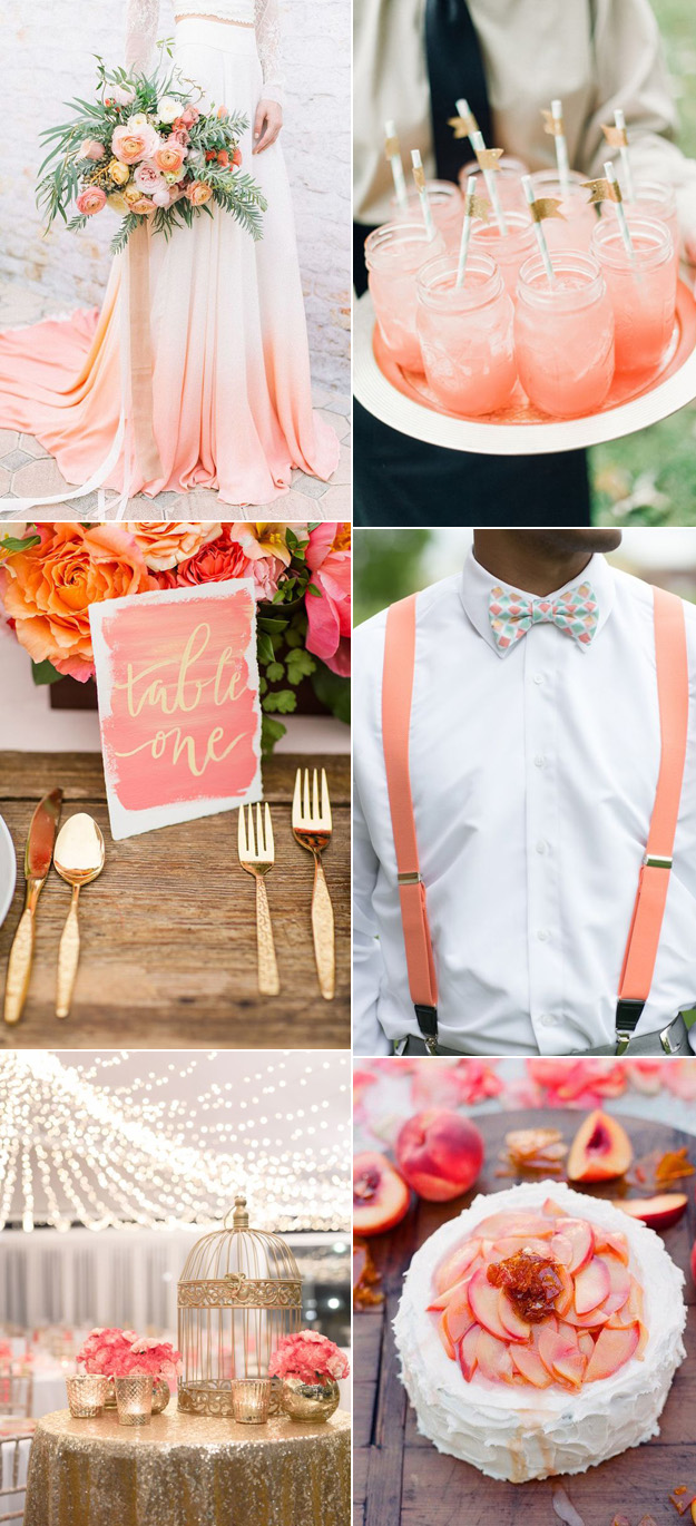 {Image Sources: Peach wedding dress via Hey  Wedding Lady  - photo by  Lizelle Goussard ; Peach drinks via  Want That Wedding ; Gold setting via  Hey Wedding Lady  - photo by  Katelyn James Photography ; Coral suspenders via  Modern Weddings  - photo by  Krista Reynolds ; Gold and coral table via  pinterest ; Peach cake via  The Answer is Cake }