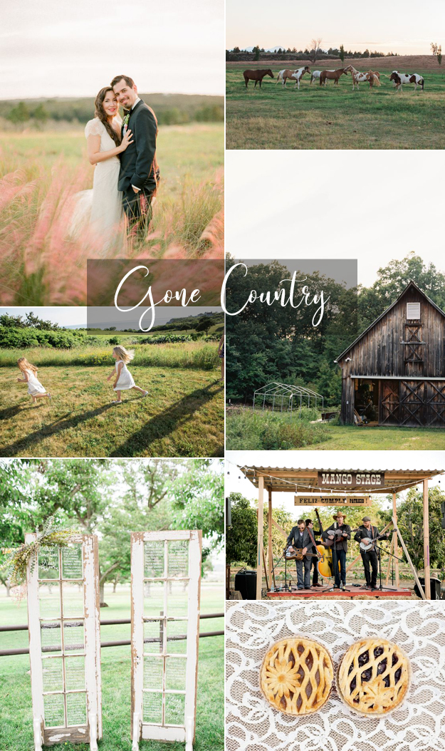 {Image Sources: bride and groom in field via  Style Me Pretty  - photo by  You Look Lovely Photography ; Horses via  Style Me Pretty ; Girls running via  Style Me Pretty  - photo by  Karen Wise Photography ; Barn via  Style Me Pretty  - photo by  Renee Hollingshead ; Seating chart via  Style Me Pretty  - photo by  Brooke Borough ; Band via  Style Me Pretty  - photo by  Sara Richardson Photography ; Pies via  Style Me Pretty  - photo by  Cassi Claire }